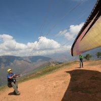 paraglider launching