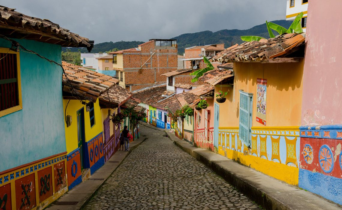 colorful street in guatape