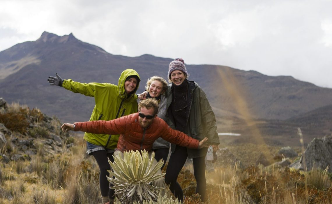 group friends happy mountains nevados