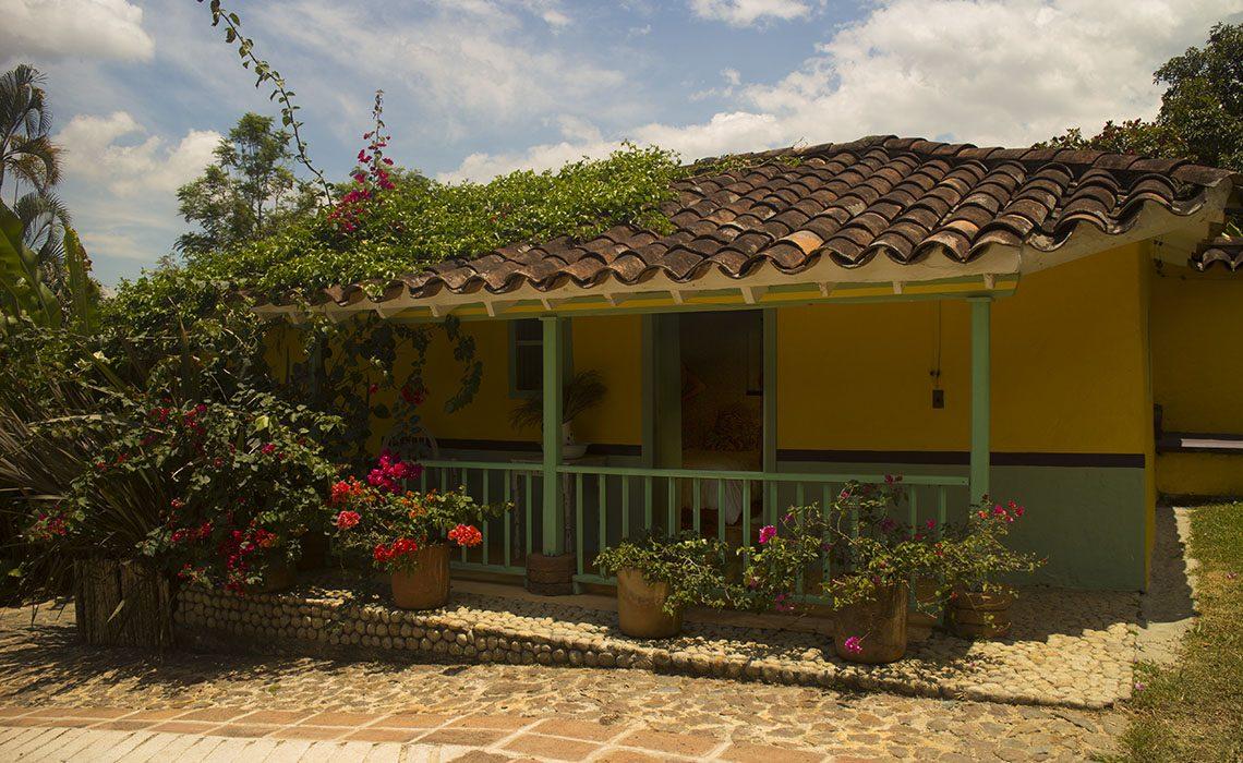 yellow finca farm house room