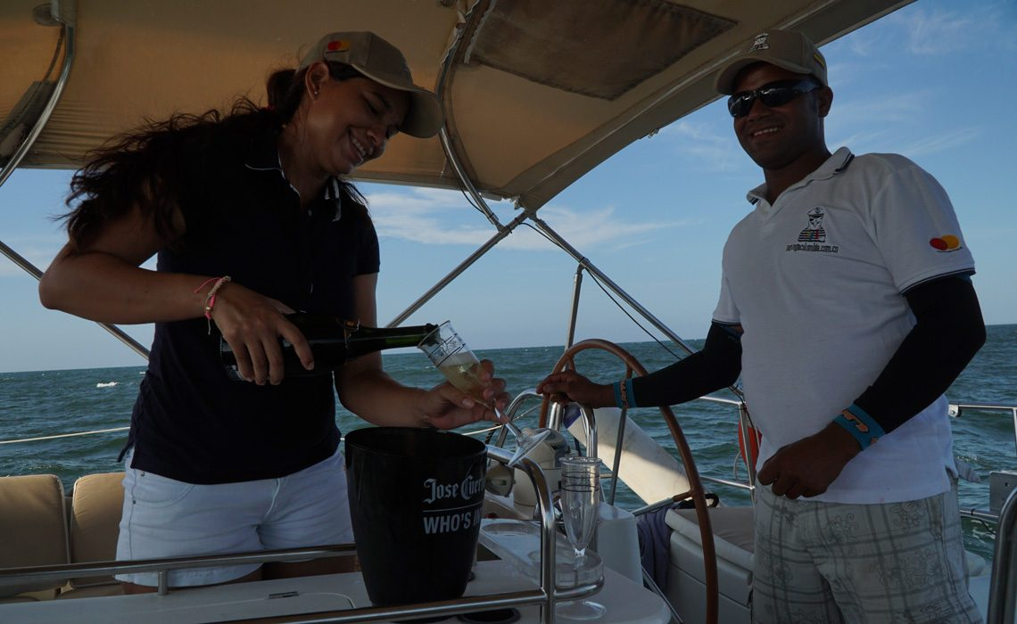 champagne drinking sailing