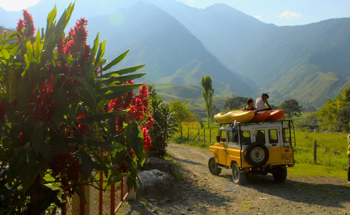 nissan patrol with mountains and flowers