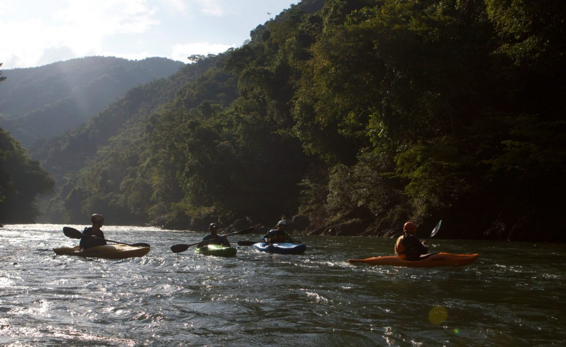 4 kayakers in the sun