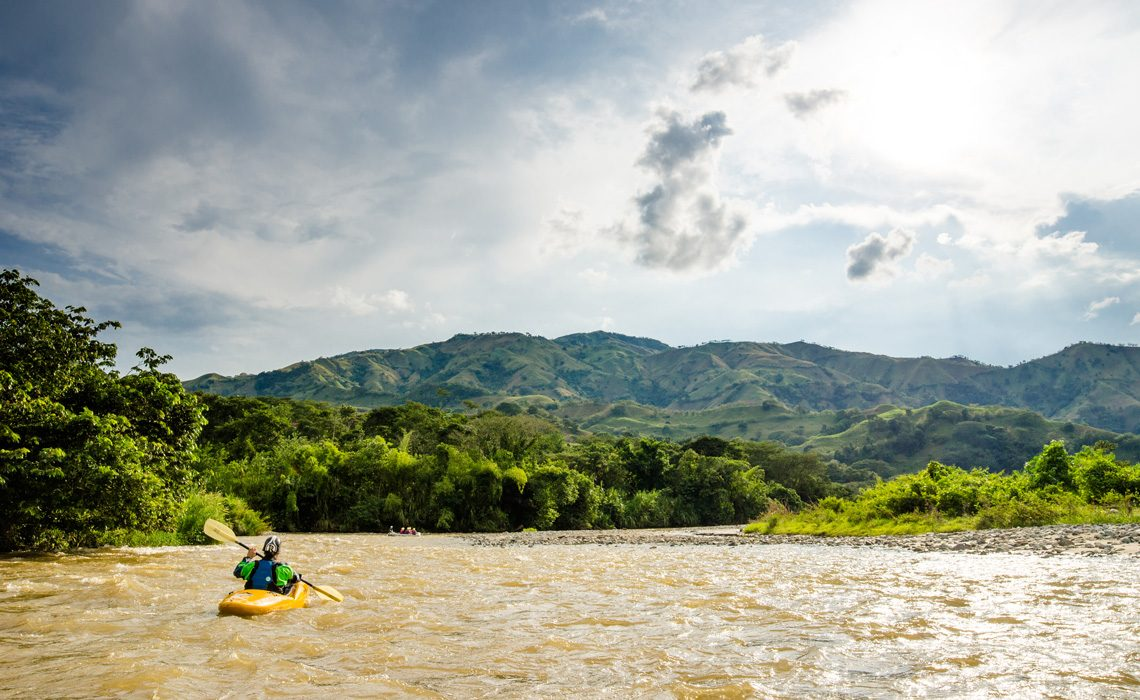 kayaker in the colombian sunshine