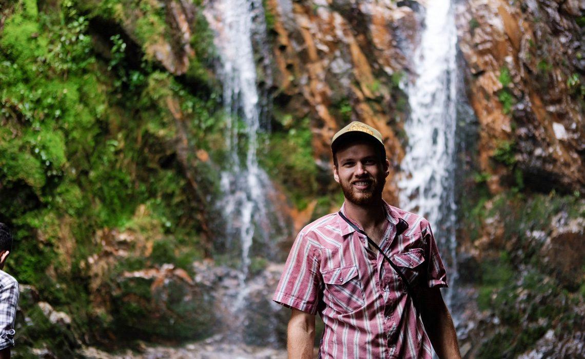 hiker waterfall