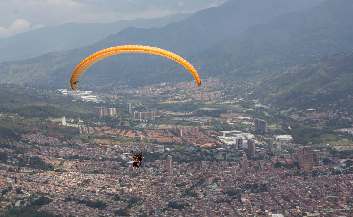 paragliding over medellin