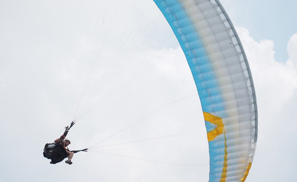 paraglider above camera