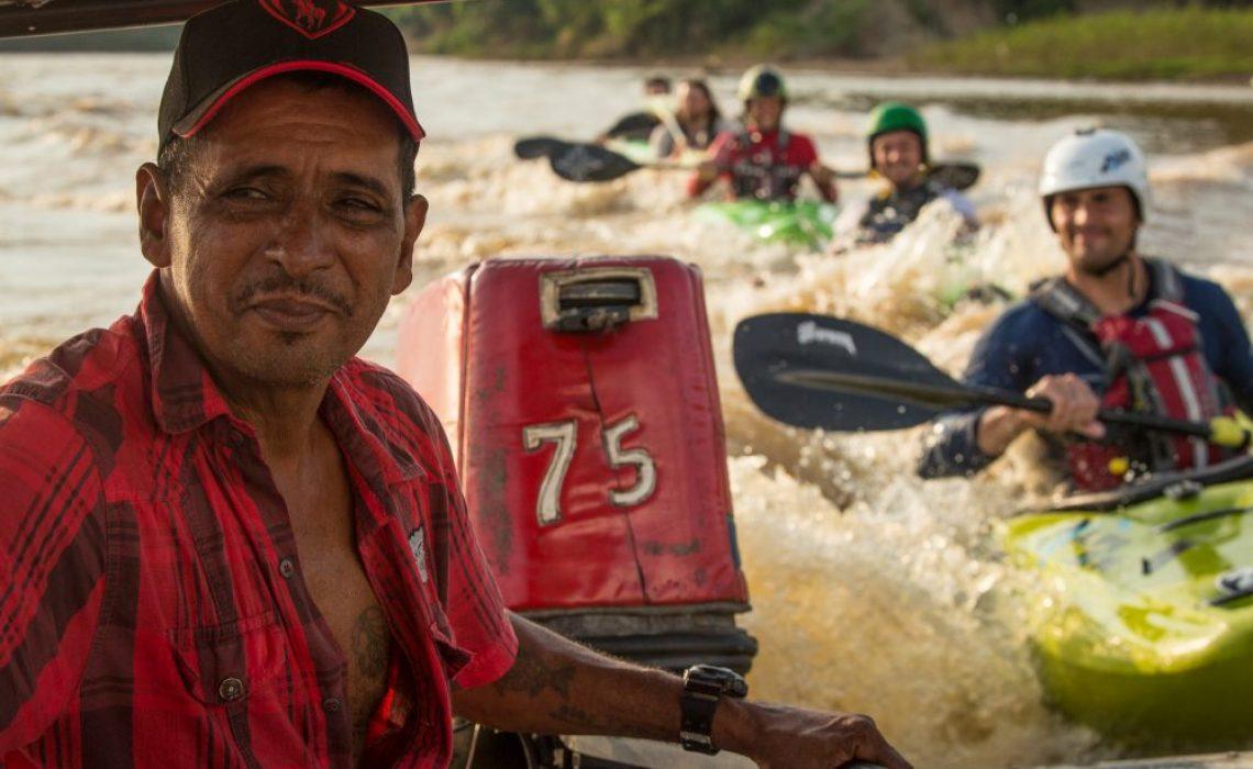 boat river kayakers