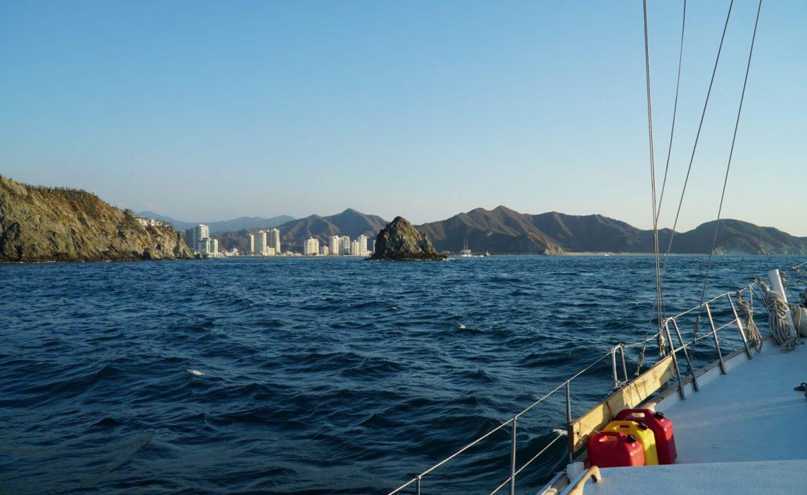 santa marta skyline and mountains from sailboat